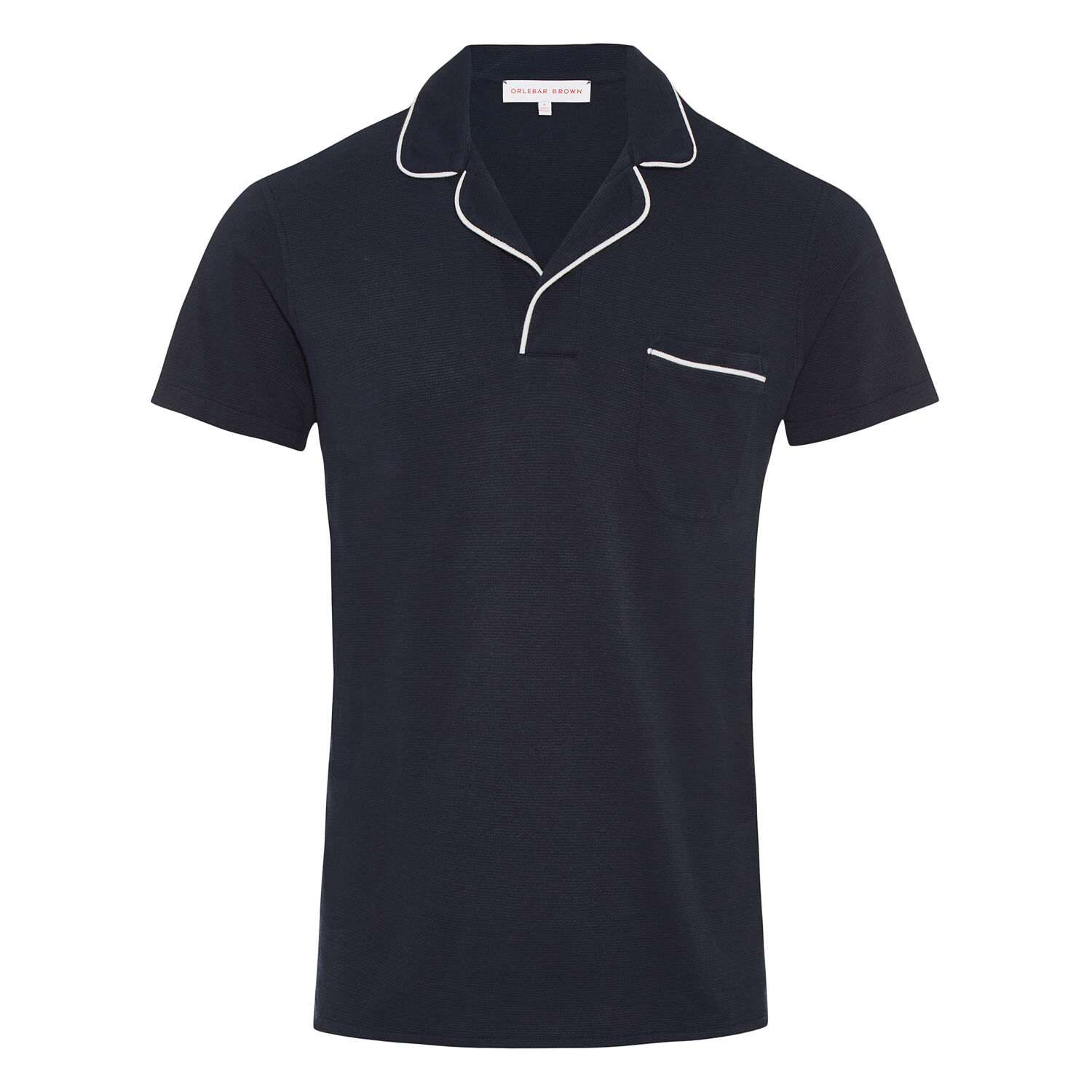19ff6b78aab Donald Piping - Navy/White Resort Polo | Orlebar Brown