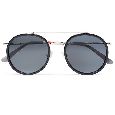 Orlebar Brown Round Sunglasses BLACK/SI/GREY/GR