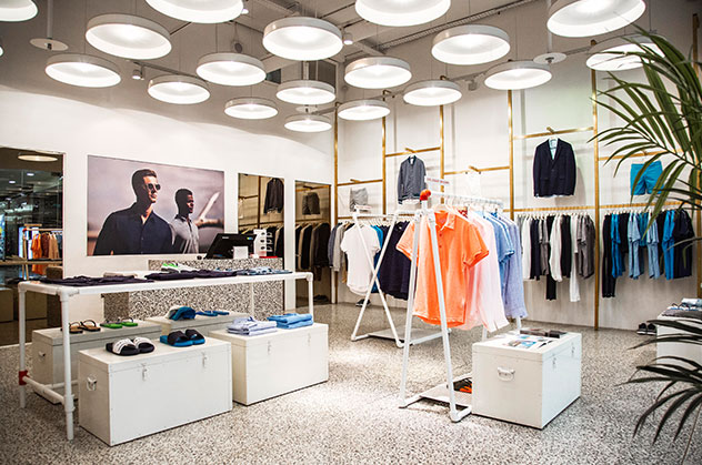 Orlebar Brown Canary Wharf Store in London.